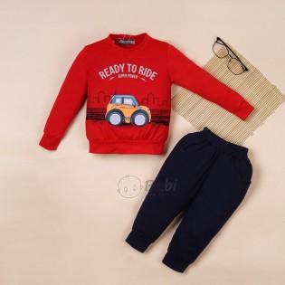 Quần áo tay dài bé trai in xe chất đẹp (9 tháng - 6 tuổi)