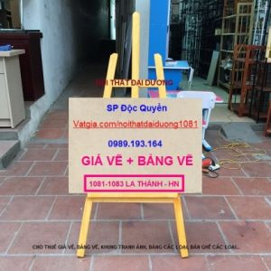 Giá vẽ màu vàng GV02V+ Bảng vẽ 50x70, giá vẽ tranh chân chữ A