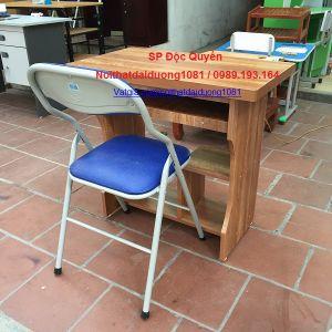 Bàn vi tính gỗ phủ Melamin màu Xoan Đào BVT08Min+Ghế gấp