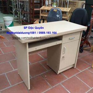 Bàn vi tính BVT12Min, bàn làm việc gỗ melamin màu kẻ trắng 383