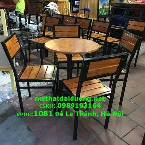 Bộ bàn ghế cafe BBG3960CS (Bàn + 3 Ghế) khung sắt gỗ cao su