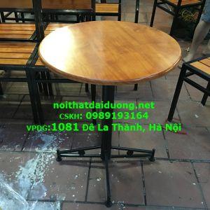 Bàn cafe B60CS khung sắt gỗ cao su