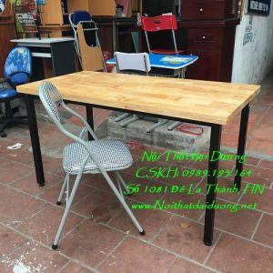 Bàn làm việc sắt, gỗ caosu + Ghế kẻ Hòa Phát BLV1260TN+Ghế