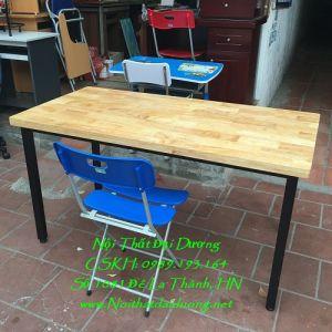 Bàn làm việc sắt, gỗ caosu + Ghế 3 mảnh 190, BLV1260TN+Ghế