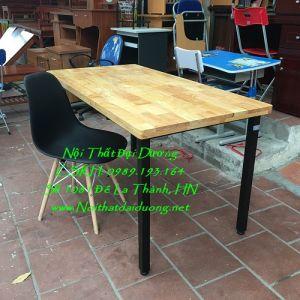 Bàn làm việc sắt, gỗ caosu + Ghế gỗ đệm nhựa BLV1260TN+Ghế