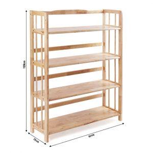 Kệ sách đa năng KS4T90, kệ gỗ cao su tự nhiên 4T rộng 90cm