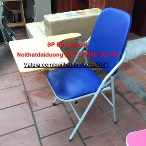 Ghế liền bàn, ghế có bàn viết GLB04BS chân sơn, đệm PVC màu xanh