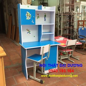 Bàn học sinh liền giá sách BLG08MinG+Ghế ngồi màu xanh dương