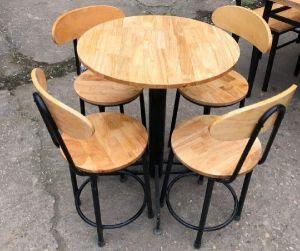 Bộ bàn ghế cafe chân sắt có tựa mặt gỗ  (1 bàn 4 ghế)