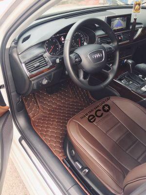 thảm lót sàn Eco ô vuông 2 chỉ Audi A6 màu nâu