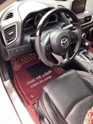 Thảm lót sàn Eco quả trám 1 chỉ Mazda 3 màu đỏ