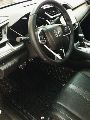 Thảm lót sàn Eco quả trám 1 chỉ màu đen Honda Civic