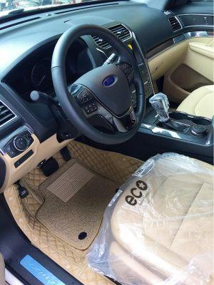 Thảm lót sàn Eco ô vuông 2 chỉ Ford Explorer 7 chỗ màu kem