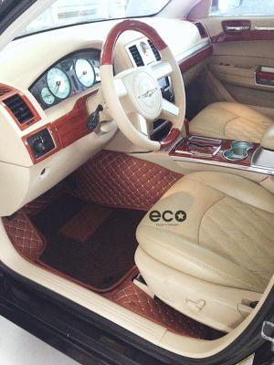 Thảm lót sàn Eco ô vuông 2 chỉ Chrysler 300C màu nâu 2 lớp