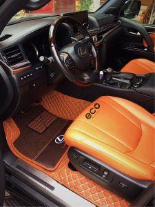 Thảm lót sàn Eco ô vuông 2 chỉ Lexus 570 màu nâu 2 lớp