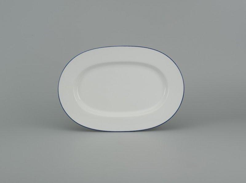 Dĩa oval 25cm CHỈ XANH DƯƠNG