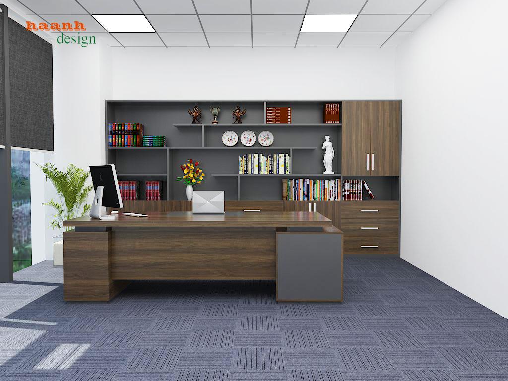 Thiết kế phòng lãnh đạo chất liệu gỗ công nghiệp nhập khẩu