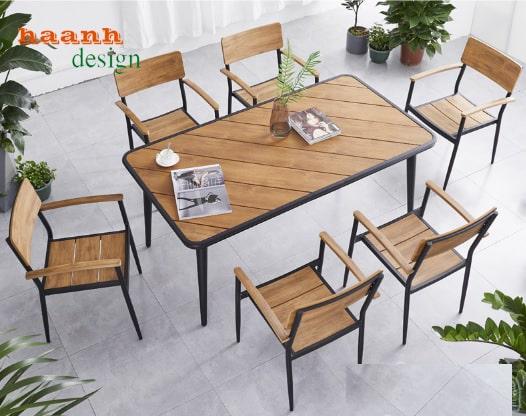 Bàn ghế ngoài trời, bàn ghế sân vườn sắt và gỗ