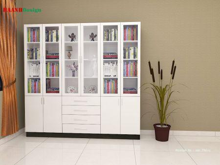 Thiết kế tủ sách gỗ công nghiệp công trình xa la Hà Đông