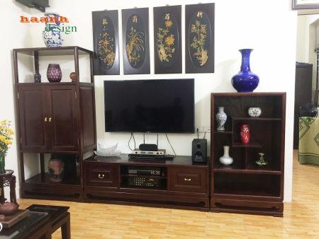 Tủ gỗ sồi tự nhiên phòng khách hoàn thành cho khách hàng Khâm Thiên