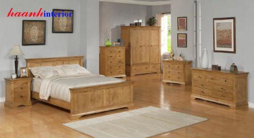 Bộ nội thất phòng ngủ gỗ sồi tự nhiên BPN010