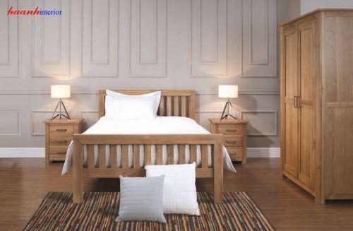 Giường ngủ gỗ sồi tự nhiên phong cách hiện đại GNH014