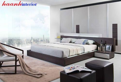 Giường gỗ công nghiệp dát nâng GNH028