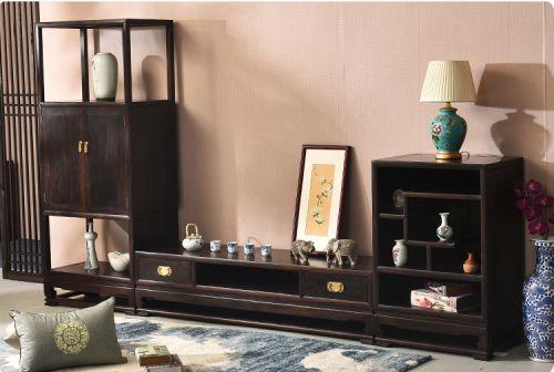 Tủ trang trí phòng khách gỗ mun hoa.TBK 013