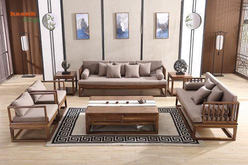 Sofa phòng khách gỗ óc chó phong cách hiện đại.SFG 040