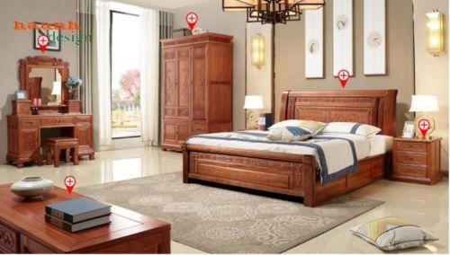 Phòng ngủ gỗ tự nhiên phong cách giả cổ á đông. BPC 005