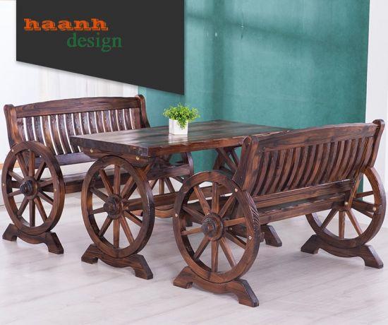 Bàn ghế gỗ ngoài trời, sân vườn sang trọng và độc đáo. NTG 020