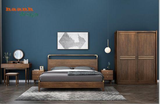 Giường ngủ gỗ óc chó tự nhiên nhập khẩu Bắc Mỹ. GNH 039