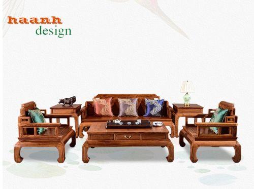 Bàn ghế sofa gỗ tự nhiên phòng khách phong cách á đông. BGG 035