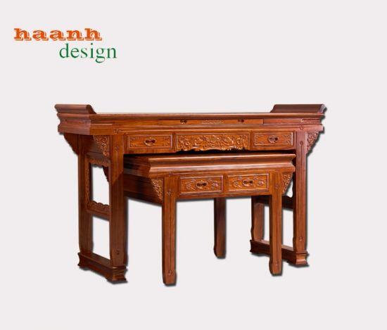 Bàn thờ hai tầng gỗ tự nhiên phong cách á đông chất lượng cao. BTC 038