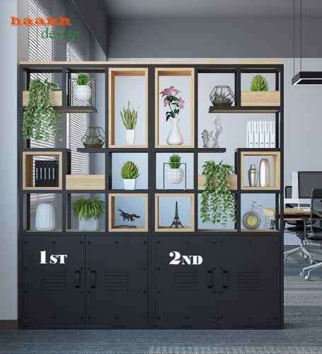 Kệ trang trí ngăn phòng sắt sơn tĩnh điện kết hợp gỗ công nghiệp GST 019