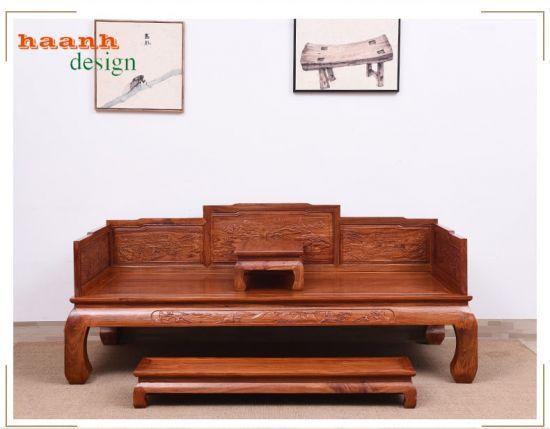 Giường ba thành gỗ tự nhiên giả cổ phong cách truyền thống SBT 006