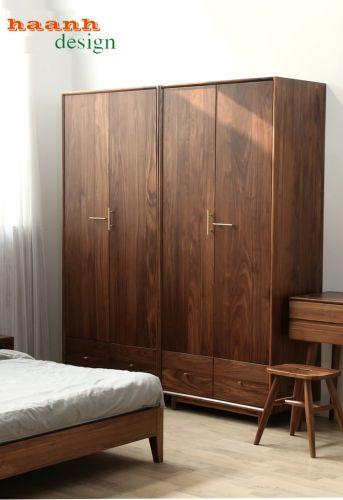 Thiết kế hiện đại tủ áo gỗ tự nhiên óc chó mẫu TAH 033