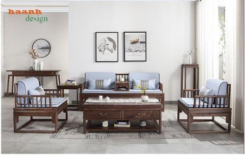Bàn ghế sofa gỗ óc chó tự nhiên phong cách mới hiện đại SFG 044