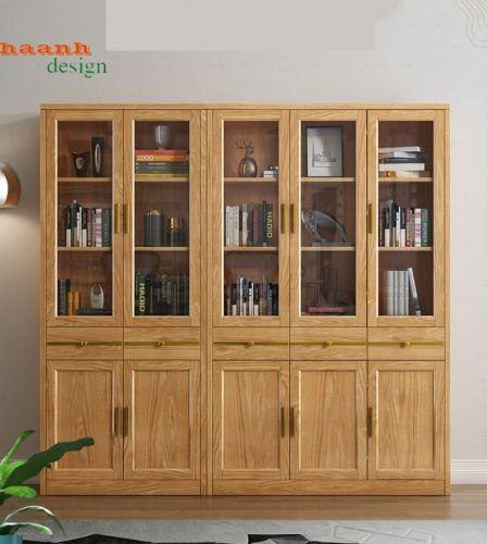 Tủ sách phòng làm việc, tủ sách gỗ tự nhiên hiện đại PLVH 033