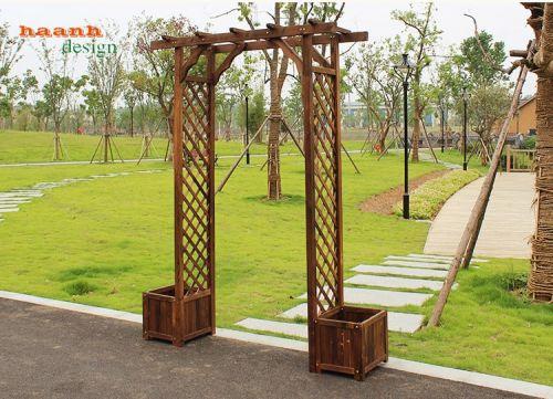 Cổng gỗ trang trí sân vườn, gỗ trang trí vườn đẹp GNT023