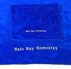 Mẫu thêu khăn khách sạn Halo Bay Homestay