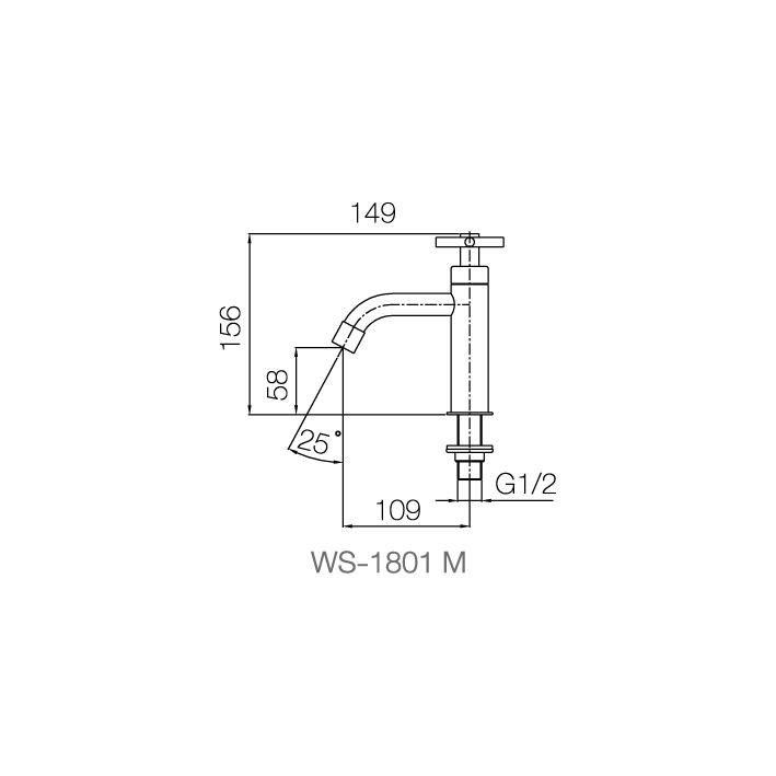 WS-1801M - Vòi chậu lạnh dạng thấp - INOX SUS 304 4