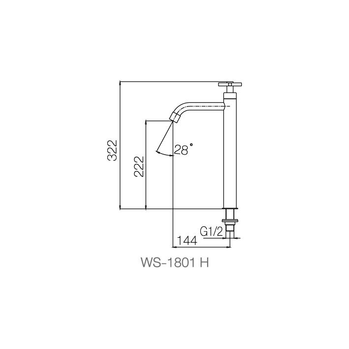 WS-1801H - Vòi chậu lạnh dạng cao - INOX SUS 304 2