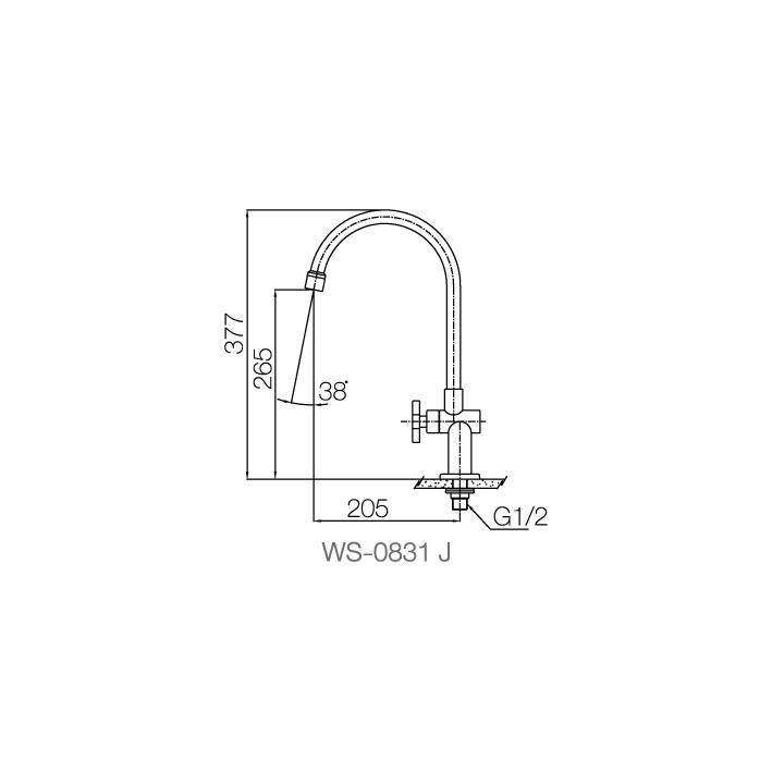 WS-0831J - Vòi chậu lạnh - INOX SUS 304 2