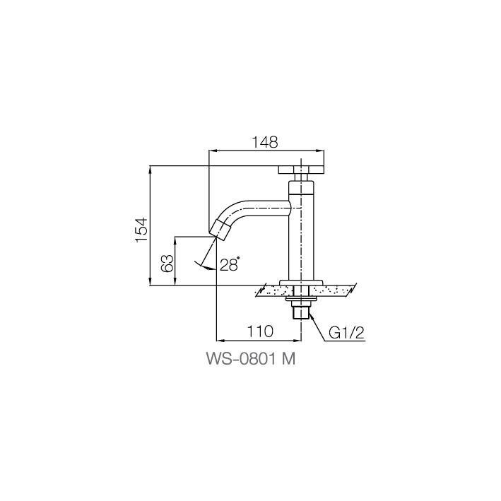 WS-0801M - Vòi chậu lạnh dạng thấp - INOX SUS 304 2