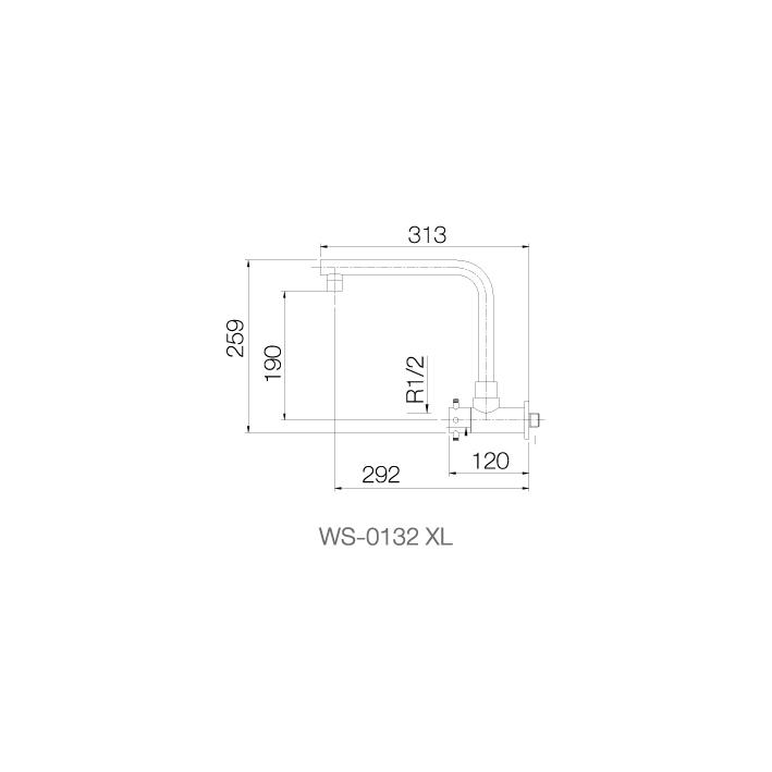 WS-0132XL - Vòi chậu lạnh gắn tường - INOX SUS 304 4