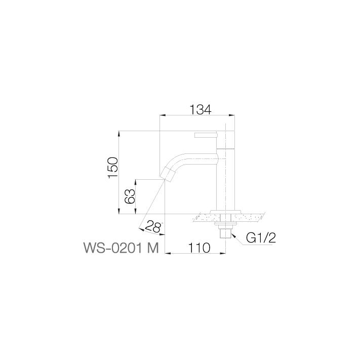WS-0201M - Vòi chậu lạnh dạng thấp - INOX SUS 304 2