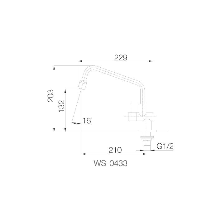 WS-0433 - Vòi chậu lạnh - INOX SUS 304 2