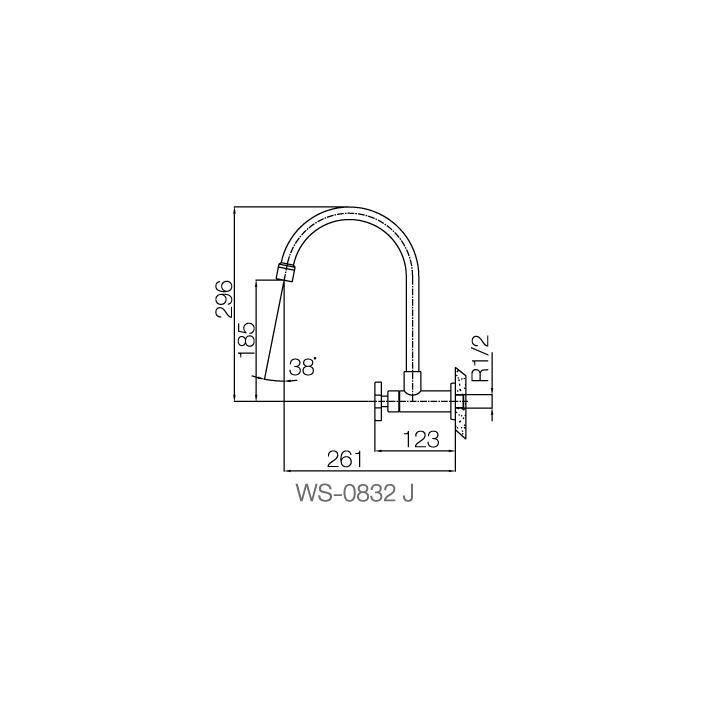 WS-0832J Vòi chậu lạnh gắn tường - INOX SUS 304 2