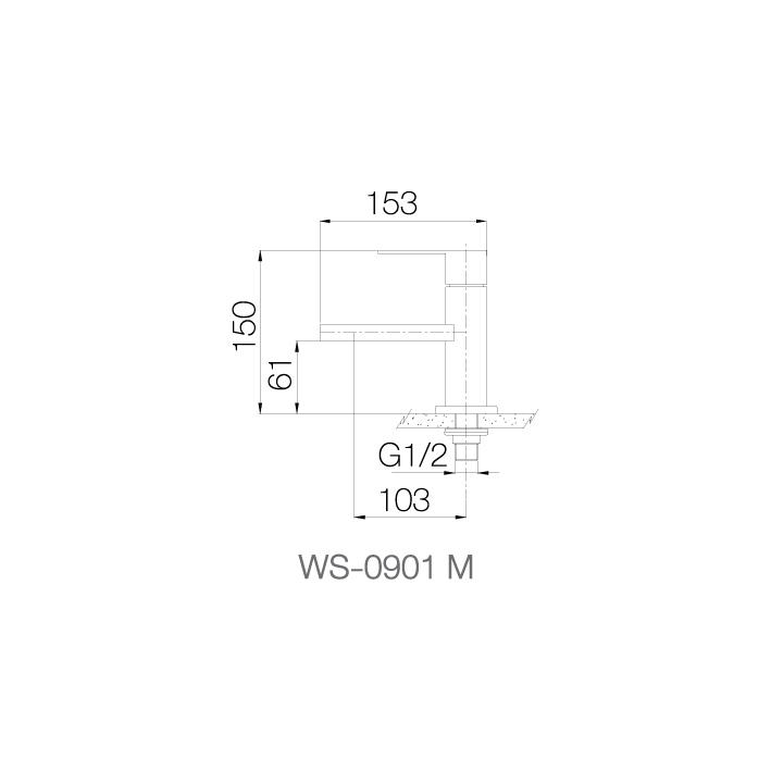 WS-0901M - Vòi chậu lạnh dạng thấp - INOX SUS 304 2